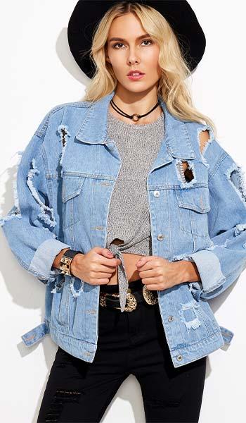 Jaket jeans wanita sobek