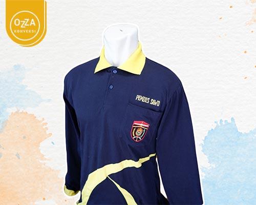 Kaos Polo Lengan Panjang Kombinasi Bordir