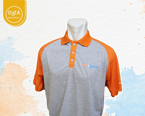 T-Shirt Polo Kombinasi Warna Orange