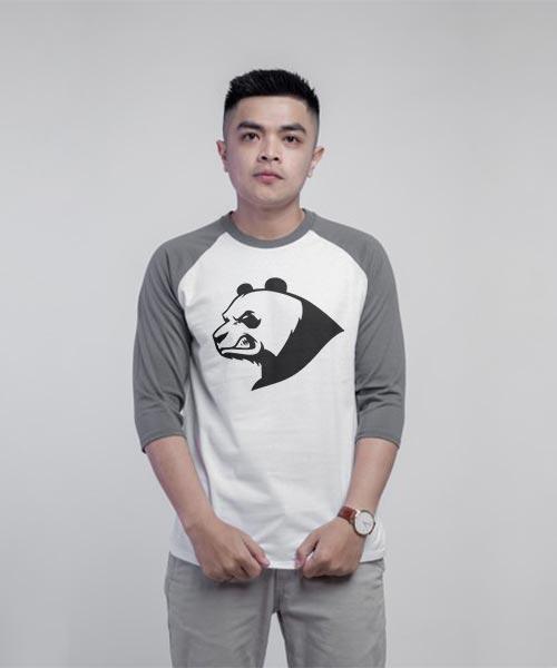 Kaos Distro Pria Lengan Panjang Gambar Angry panda