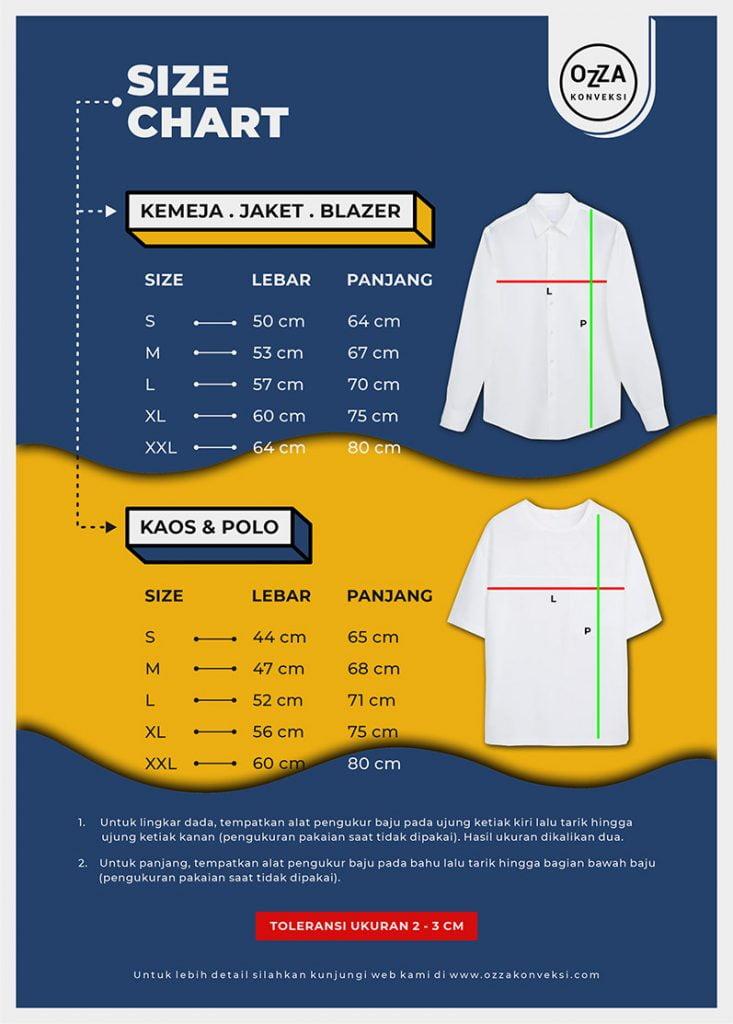 Size Chart Kaos dan Kemeja