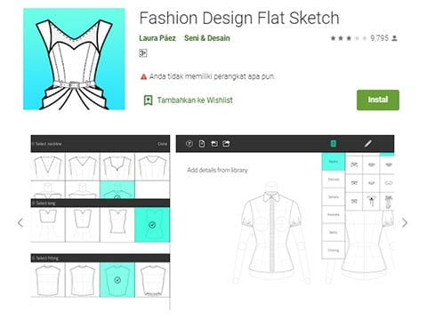 Aplikasi Desain Baju - Fashion Design Flat Sketch
