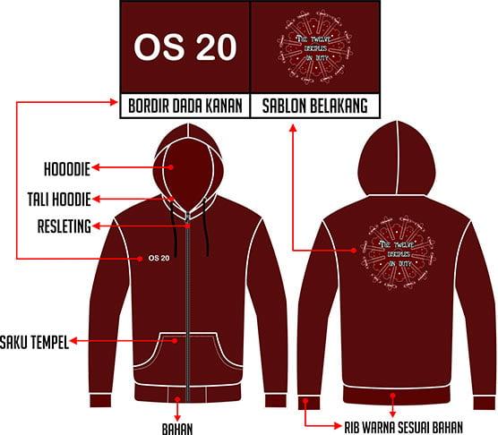 Desain Jaket Hoodie Warna Merah Maroon