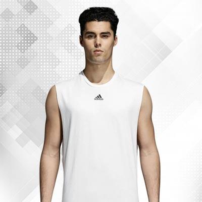Kaos Olahraga Tanpa Lengan Warna Putih