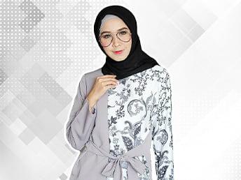Kemeja Kombinasi Batik Wanita Berhijab