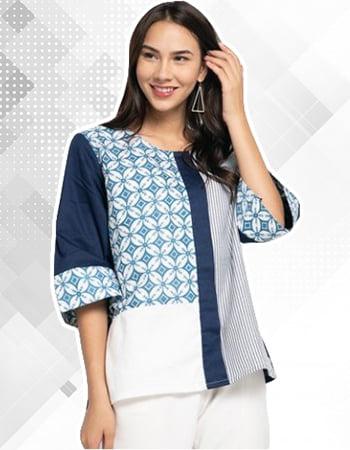 Model Baju Batik Kombinasi Kain Polos Wanita Motif kawung