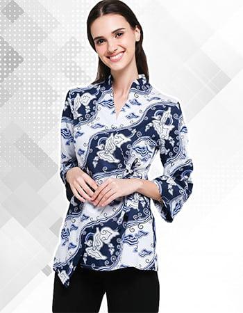 Model Baju Batik Motif Mega Mendung Kombinasi Wanita