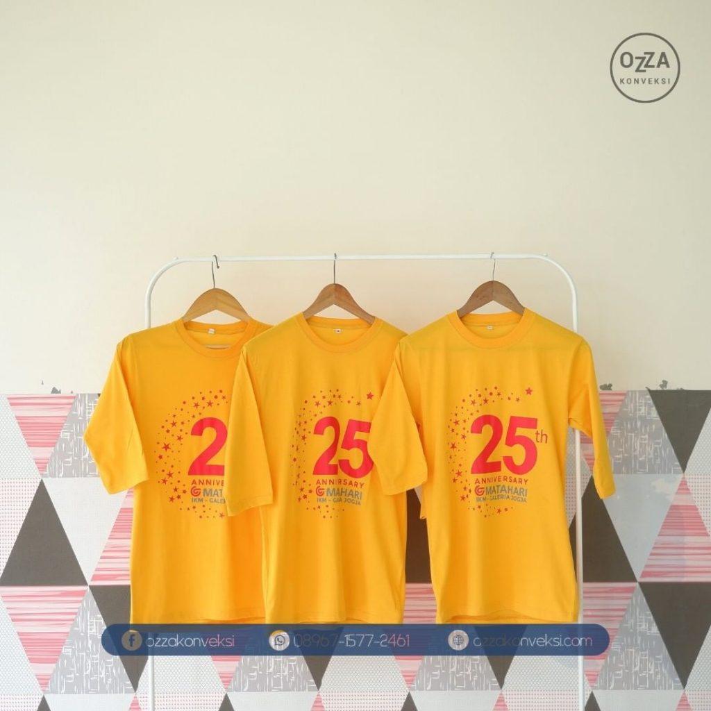 Kaos Sablon warna kuning - Ulang tahun Matahari Mall