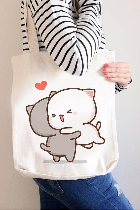 Desain Tote Bag Custom Gambar Kucing Lucu