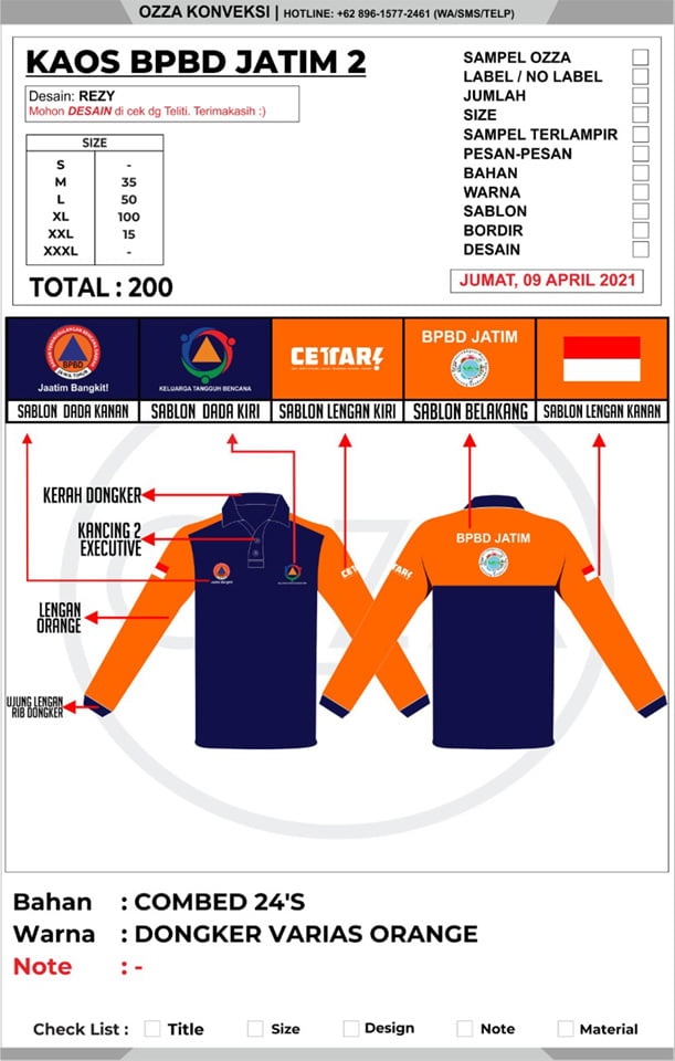 Desain Kaos Kerah BPBD