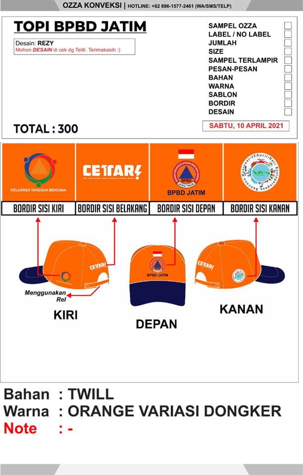 Desain Topi BPBD Jatim